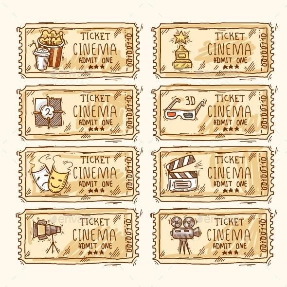 Cinema ticket set - Icons