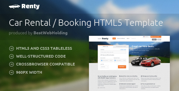 Renty – Car Rental & Booking HTML5 Template