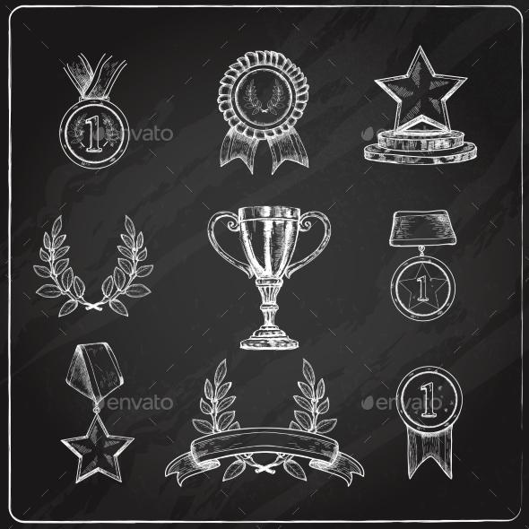Award Icons Set Chalkboard - Decorative Symbols Decorative