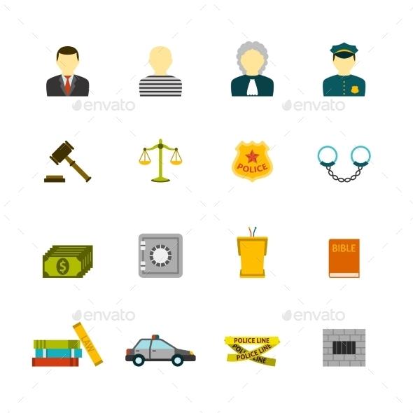 Crime and Punishments Icons Set - Web Elements Vectors
