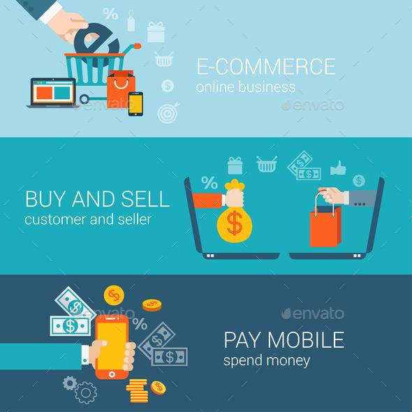 Flat Style Mobile Online E-Commerce  - Web Technology