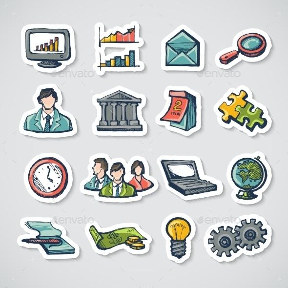 Business Stickers Set - Business Conceptual