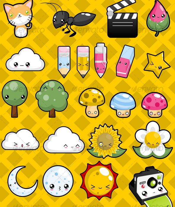 Kawaii Pack 2 - Characters Vectors