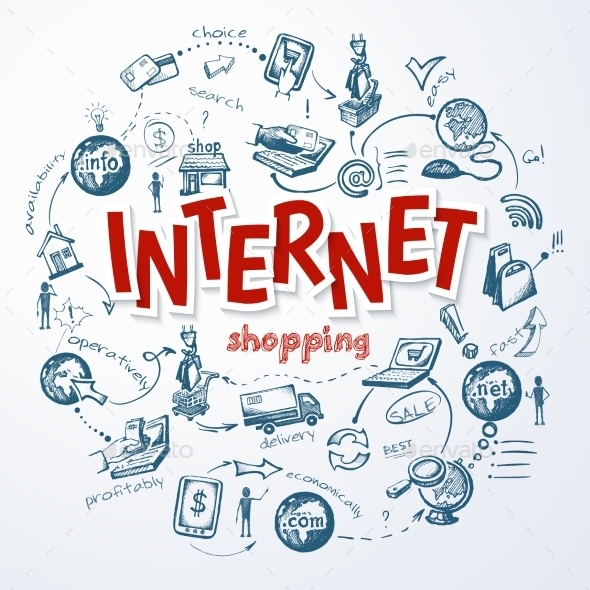 Internet Shopping Sketch Concept - Technology Conceptual