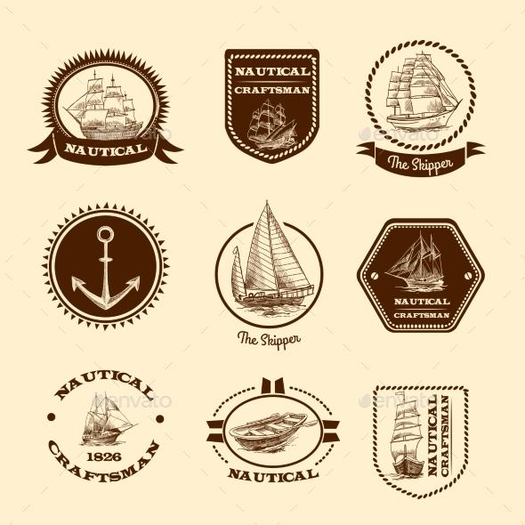 Sketch Nautical Emblems - Travel Conceptual