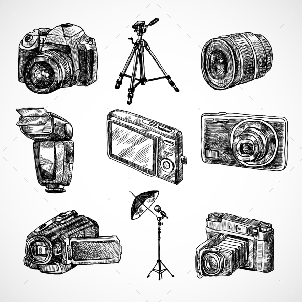 Camera Sketch Icons Set - Objects Vectors