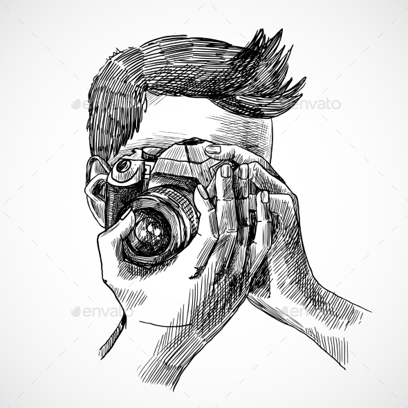 Photographer Sketch Portrait - People Characters