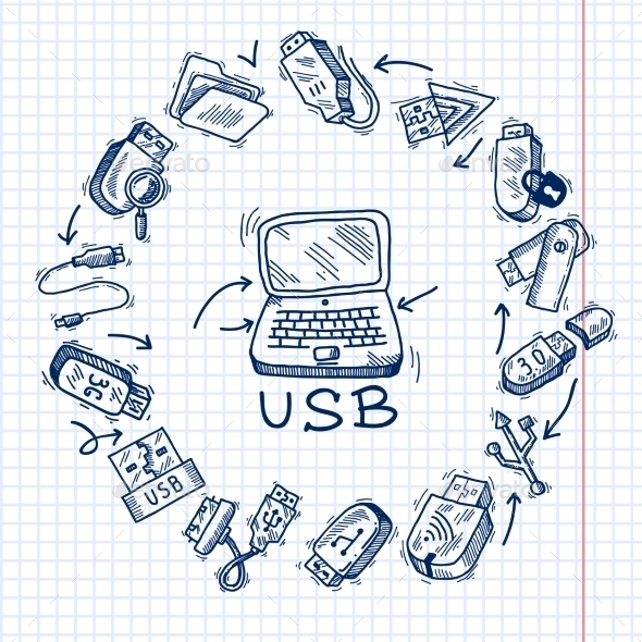 Usb and computer - Media Icons