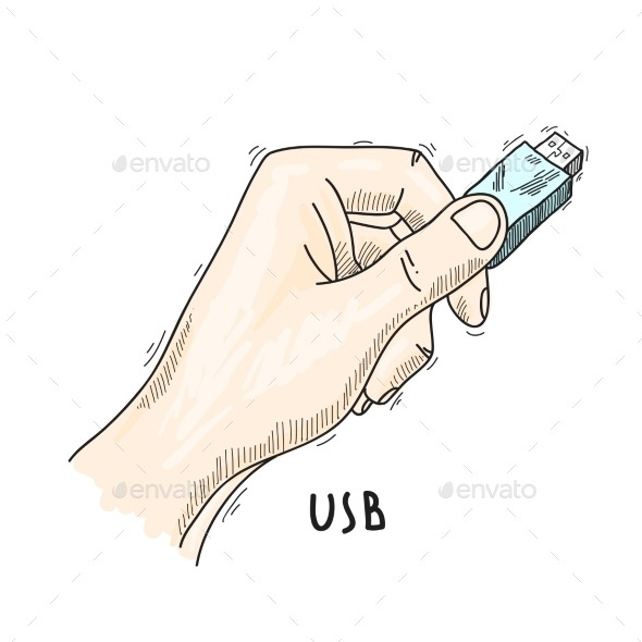 Hand with USB Poster - Communications Technology