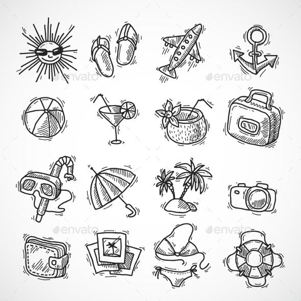 Summer Vacation Icon Set - Travel Conceptual