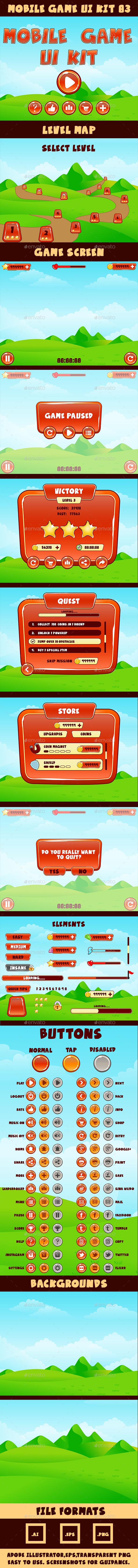 Mobile Game UI Kit 03 - User Interfaces Game Assets