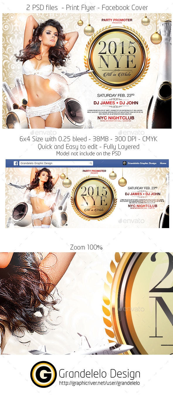 All in White New Year Party Flyer Template - Holidays Events