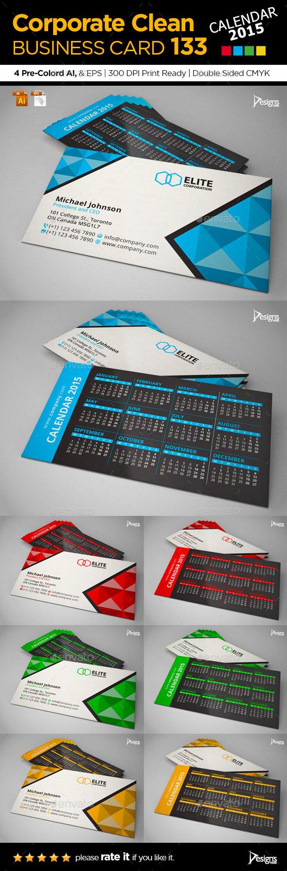Calendar 2015 Business Card - Business Cards Print Templates
