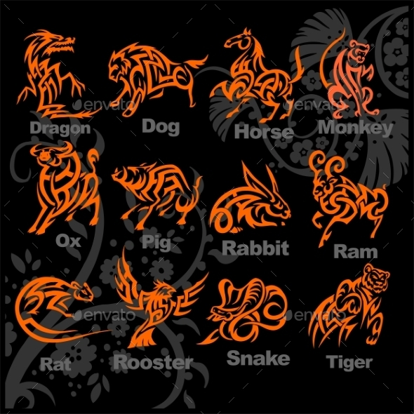 Chinese Horoscope Set - Abstract Conceptual
