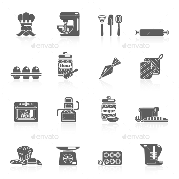 Bakery Icon Black - Food Objects