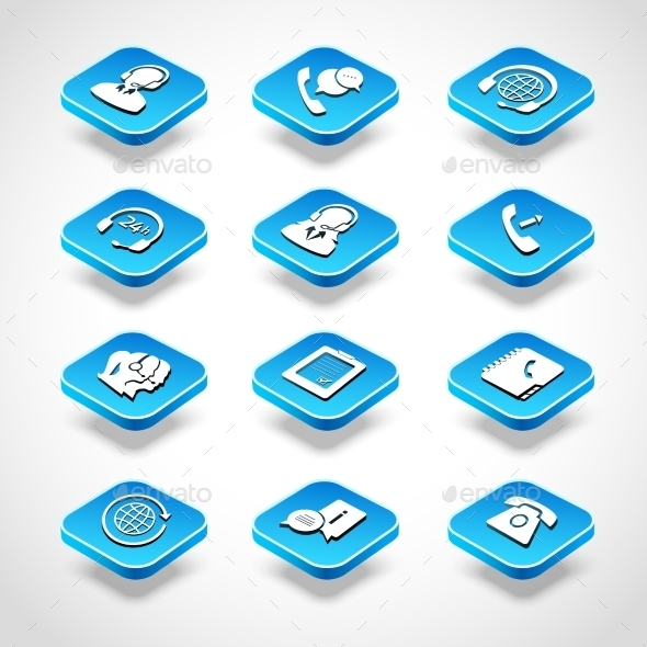 Call Center Isometric Icons - Business Icons