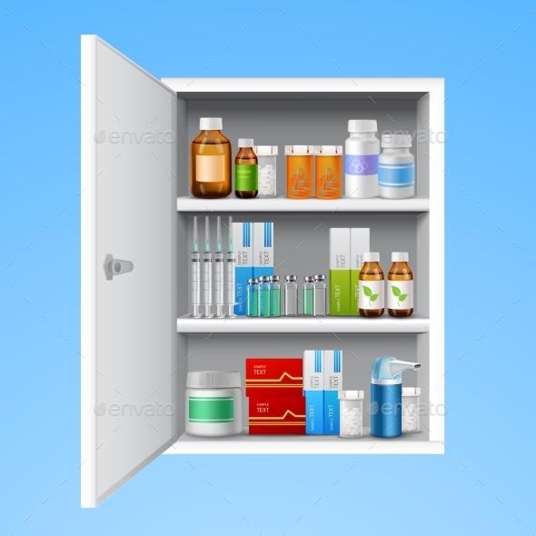 Medicine Cabinet Realistic - Health/Medicine Conceptual