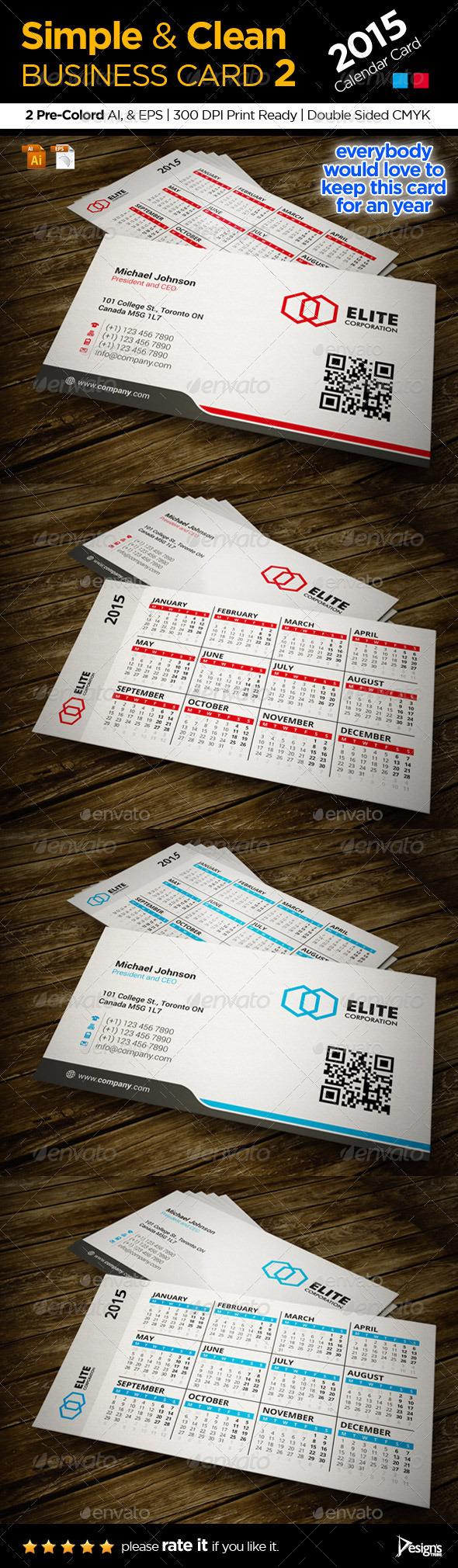 Calendar 2015 Business Card - Corporate Business Cards