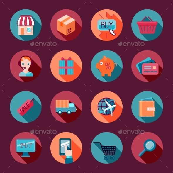 Shopping E-commerce Icons Set Flat - Web Elements Vectors