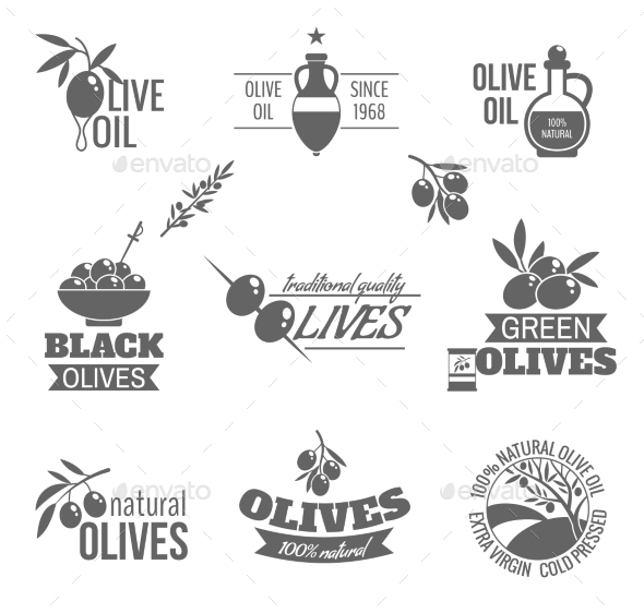 Olives Label Set - Food Objects