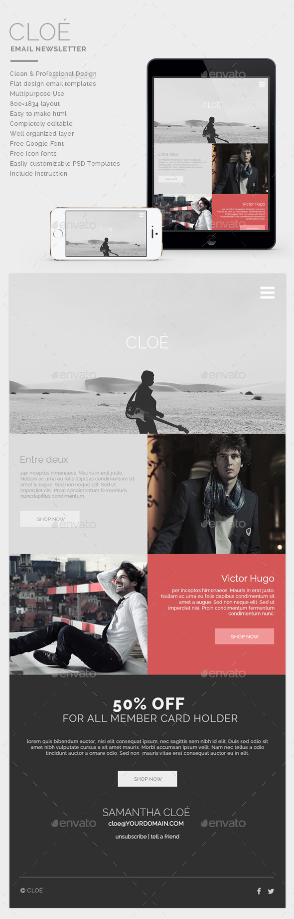 Email Newsletter - Cloe - E-newsletters Web Elements