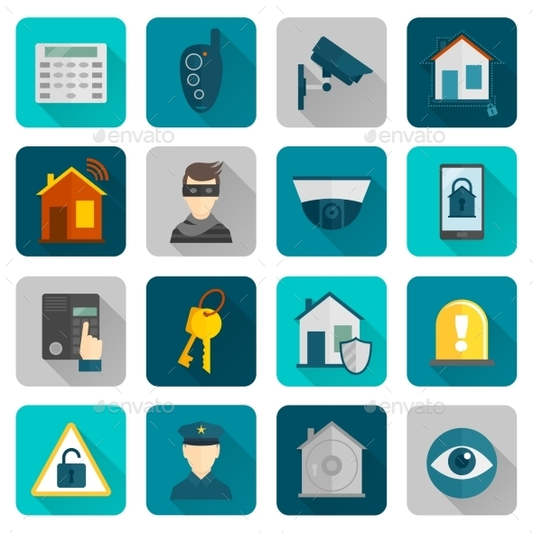 Home Security Icons Flat - Technology Conceptual