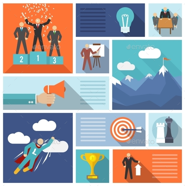 Leadership Icons Flat Set - Concepts Business