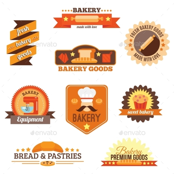 Bakery Label Set - Food Objects