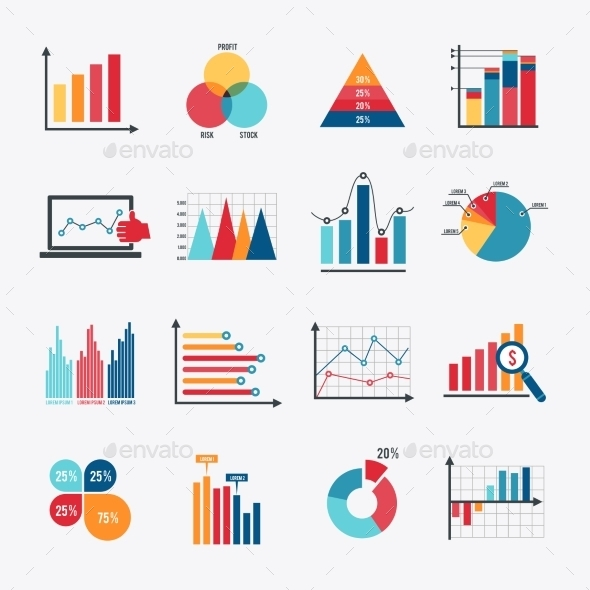 Business Chart Icons Set Flat - Concepts Business