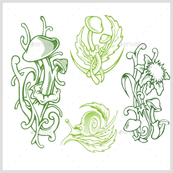 Mushrooms Design for Tattoo - Patterns Decorative