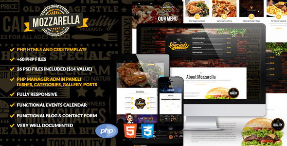Mozzarella PHP & HTML Cafe Bar Template