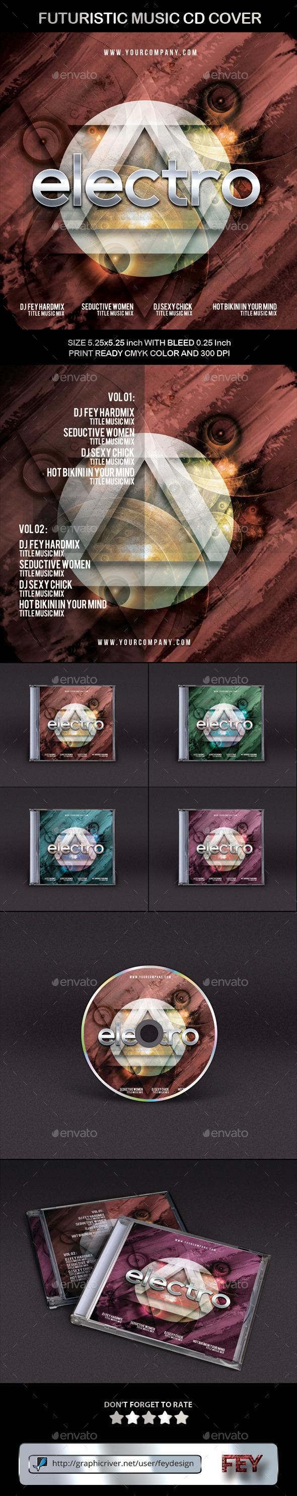 Futuristic Music CD Cover - CD & DVD Artwork Print Templates