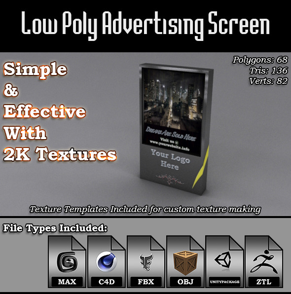 Low Poly Advertising Screen 3D Model - 3DOcean Item for Sale
