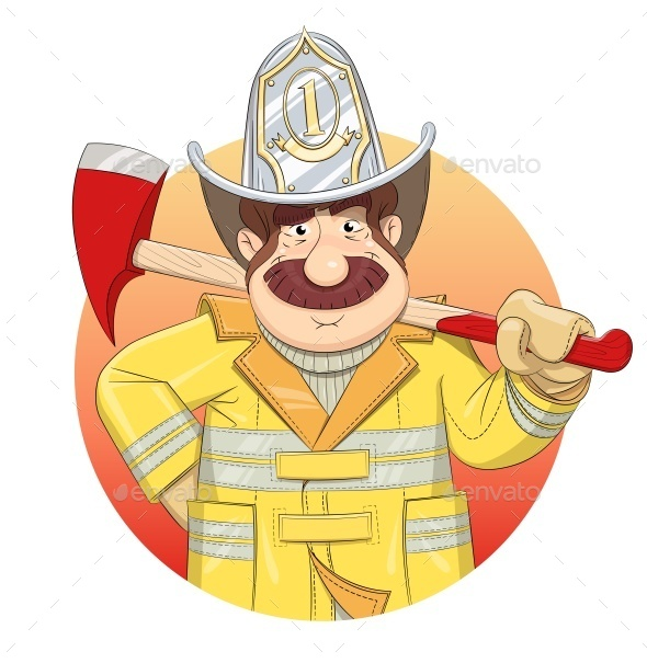 Fireman in Uniform with Ax - People Characters