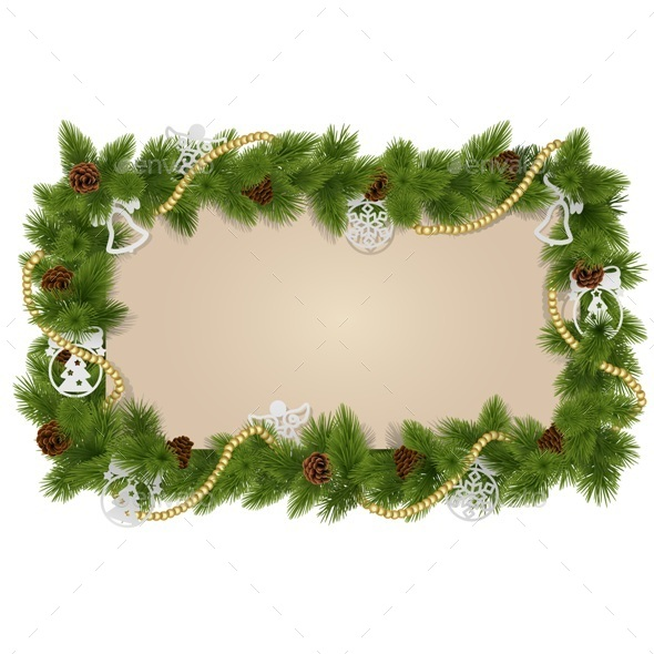 Fir Frame with Decorations - Christmas Seasons/Holidays