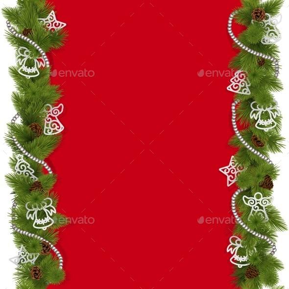 Vector Christmas Background with Beads - Christmas Seasons/Holidays