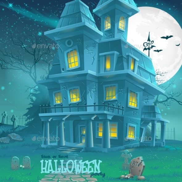 Haunted House Illustration - Halloween Seasons/Holidays