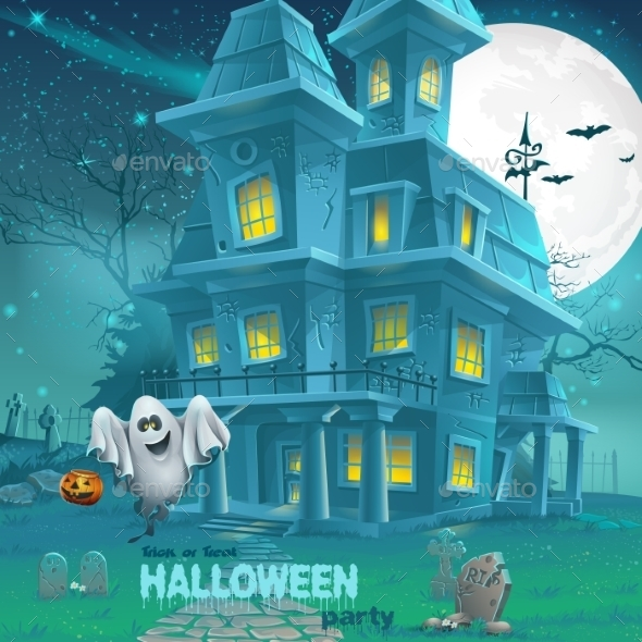 Illustration of a Haunted House - Halloween Seasons/Holidays