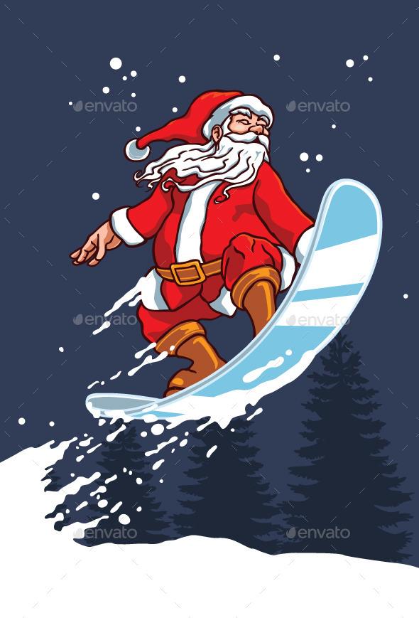 Snowboarder Santa - Christmas Seasons/Holidays