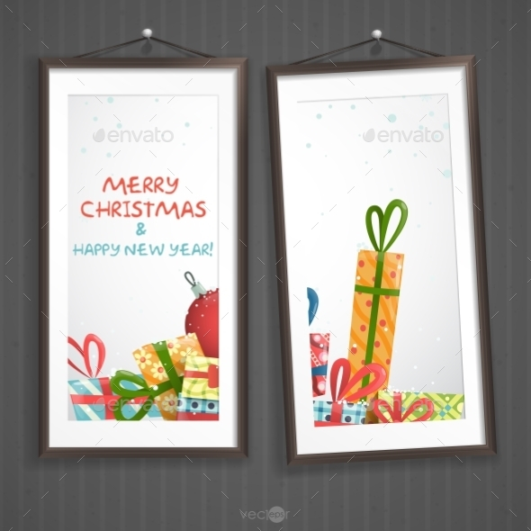 Two  Frames Of Picture On A Striped Old Wall - Christmas Seasons/Holidays