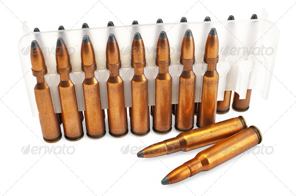 Ammunition for the automatic weapons in a package - Stock Photo - Images