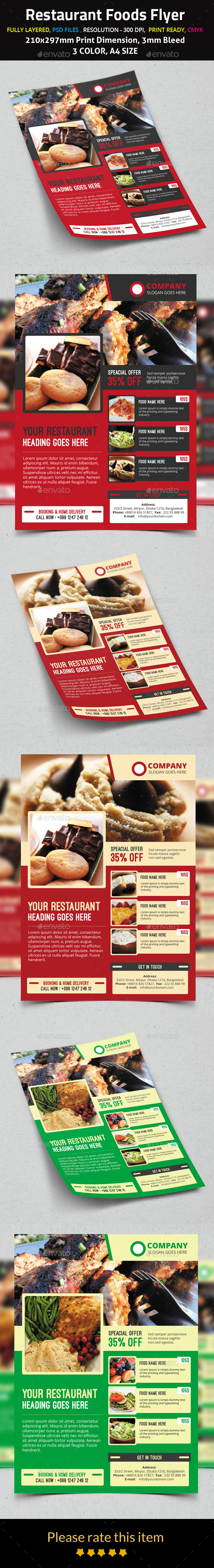 Restaurant Foods Flyer - Restaurant Flyers