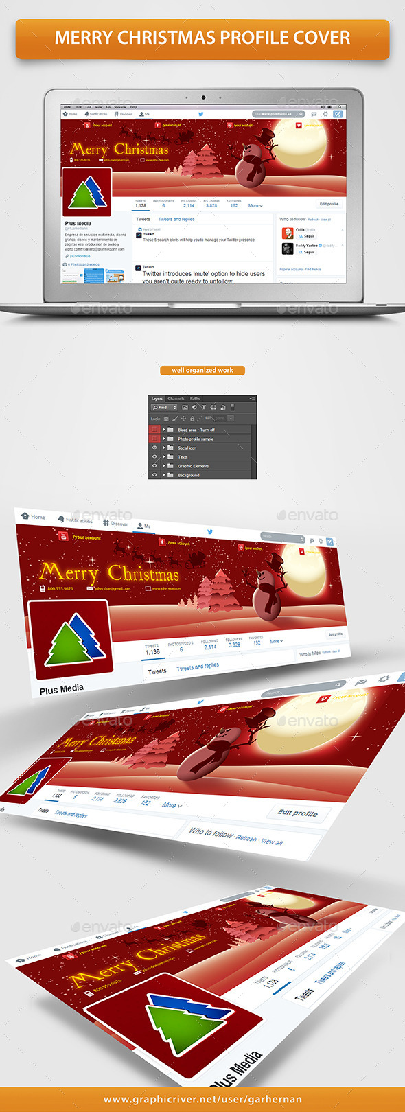 Merry Christmas Profile Cover - Twitter Social Media