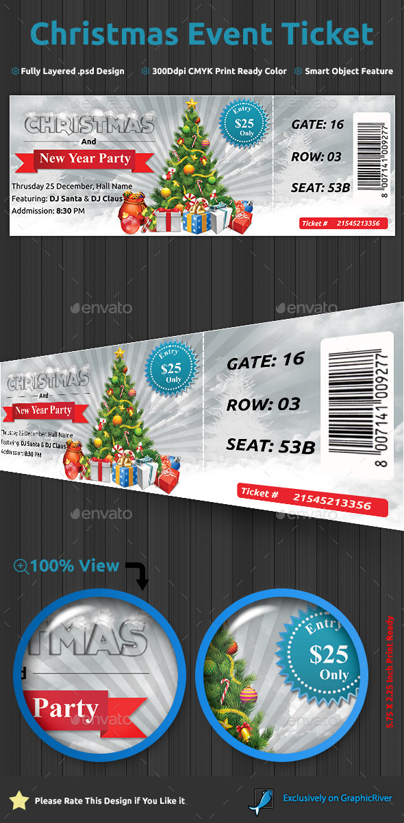 Christmas Event Ticket - Holiday Greeting Cards