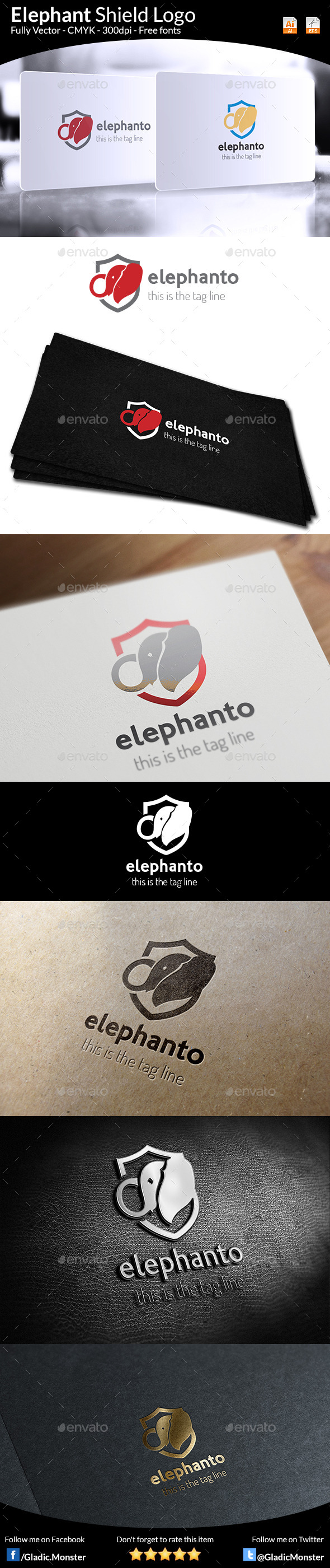 Elephant Shield Logo - Animals Logo Templates