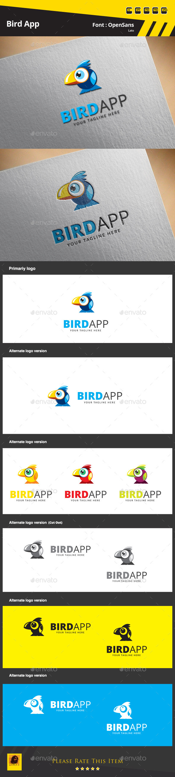 Bird App Logo Template - Animals Logo Templates