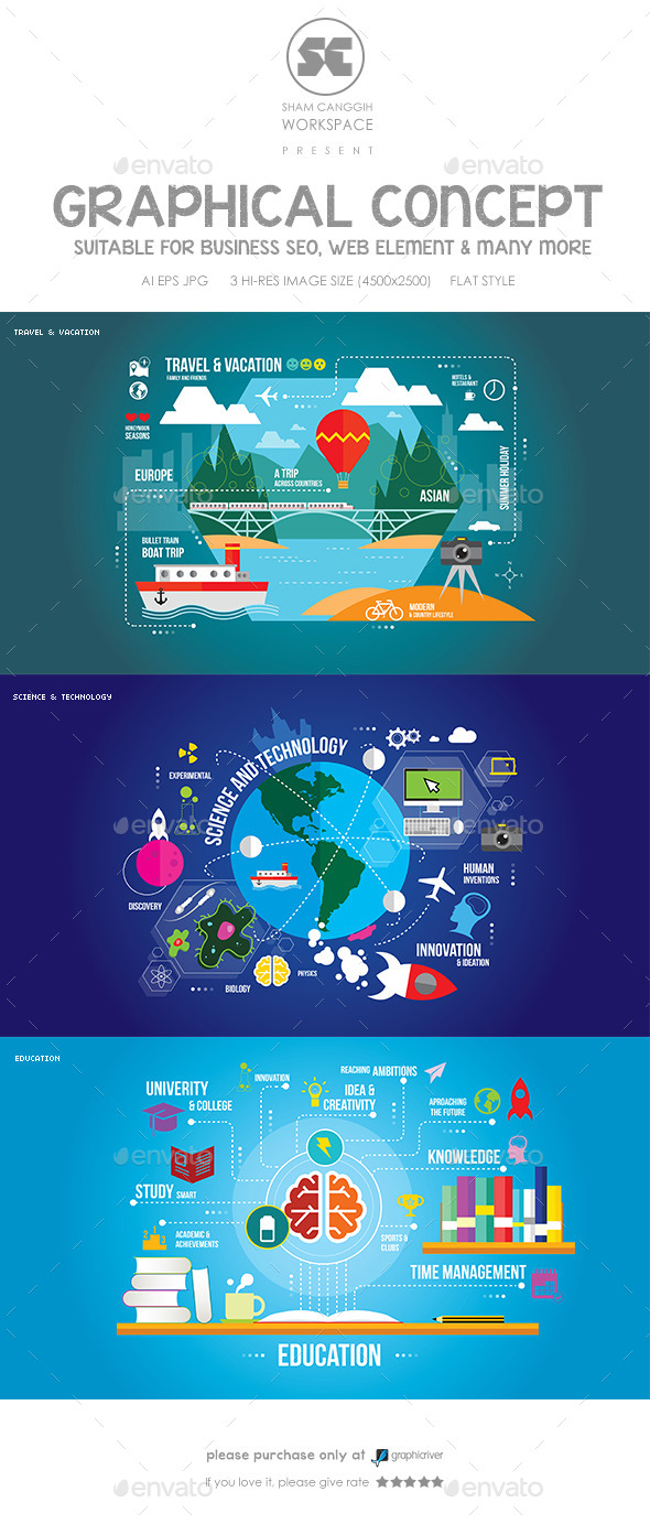 Flat Concept for Education, Science & Travel - Miscellaneous Conceptual