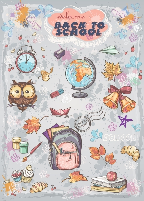 Autumn and School Elements - Food Objects