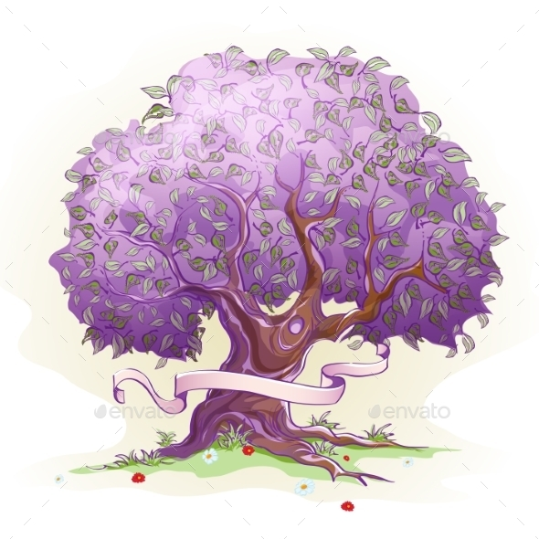 Purple Tree with Ribbon - Flowers & Plants Nature