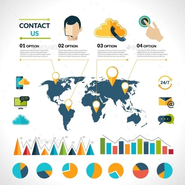Contact Us Infographics Set - Infographics